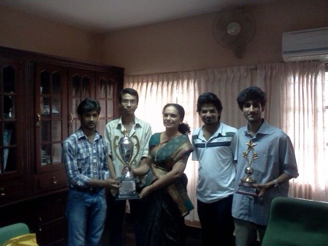 Avinesh, Saurabh, Vipin and Addy with HoD Dr. Priya Chandran