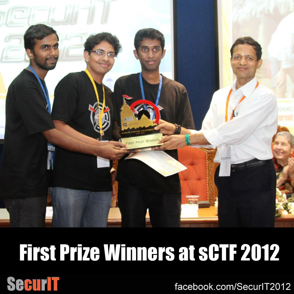 Team KaNiJe accepting first prize from Dr Venkat Rangam, VC, Amrita University